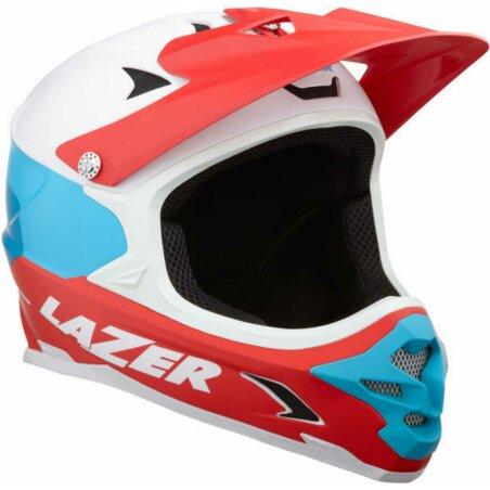 Lazer Phoenix + Helm matte white blue red