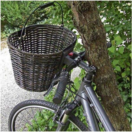KLICKfix Structura Oval Fahrrad/Lenkerkorb schwarz/braun
