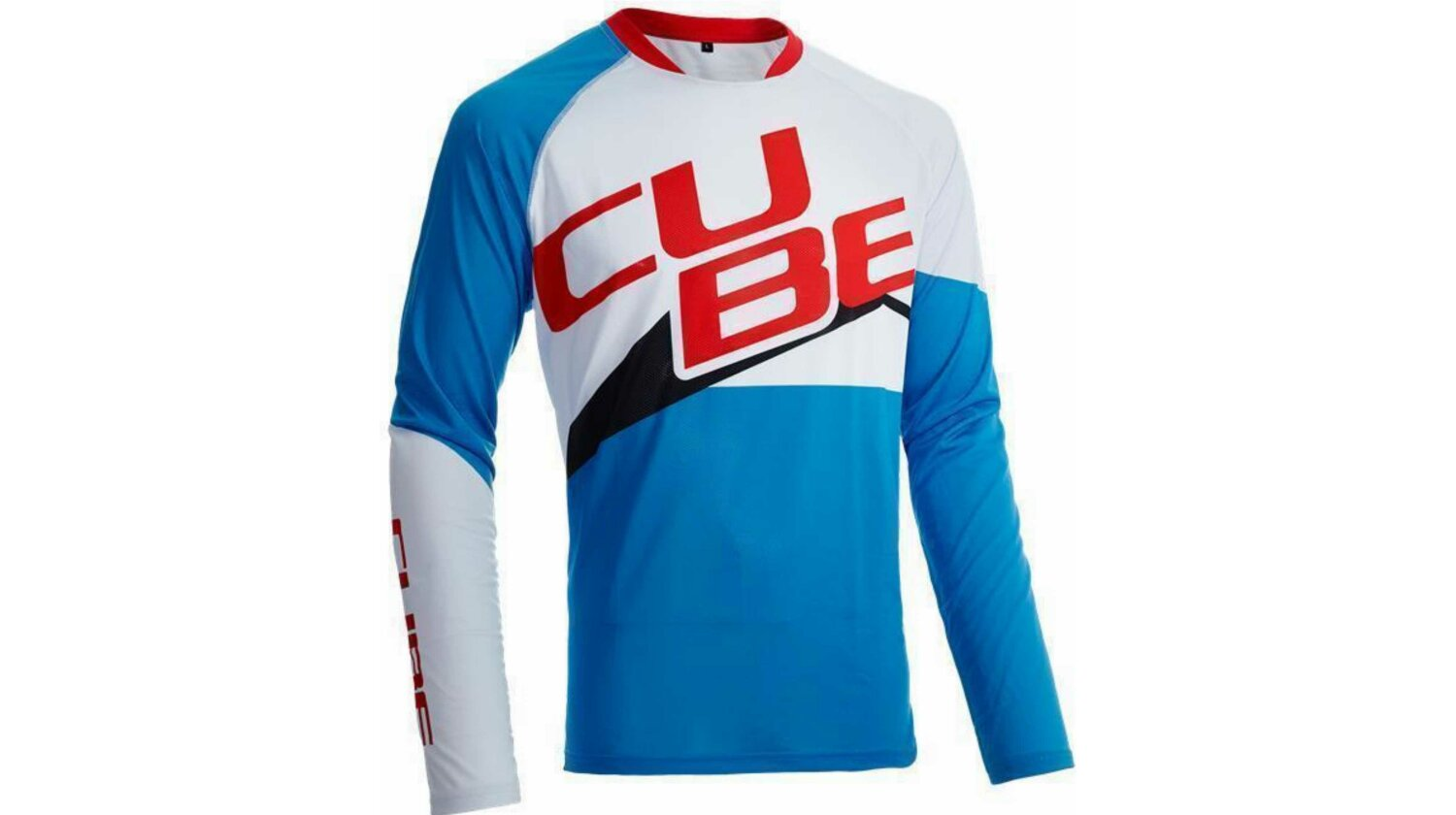 Cube ACTION Rundhalstrikot Pilot langarm white�n�blue�n�red
